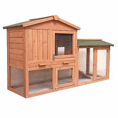Pet Rabbit Hutch 2 Tier Double Brown Wooden Guinea Pig Bunny Animal Cage House