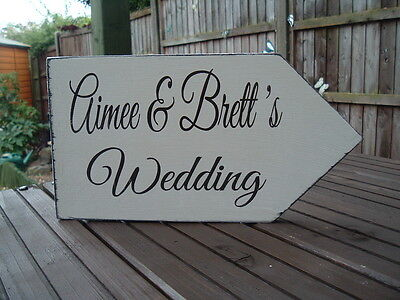 shabby vintage chic wedding directional arrow personalised prop signs 12 x 6