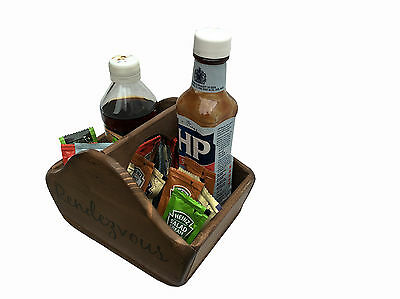 Manchester Wood Condiment Caddy/Box,Vintage Style,Sauce Sachet,Personalised Logo