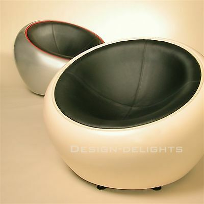 RETRO LOUNGE EGG CHAIR | red-black | bowl, lounge design stool, shell