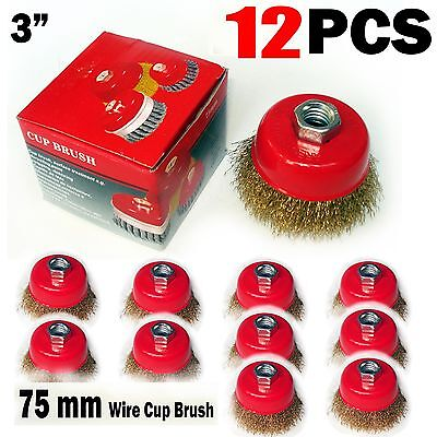 "12 pcs of 3"" x 5/8"" Arbor FINE Crimped Wire Cup Wheel Brush - For Angle Grinders"