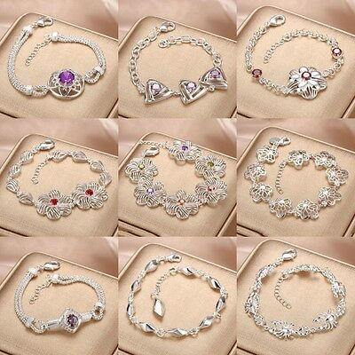 Wholesale 925 Sterling Silver Filled Bracelet Bangle Chain Fashion Jewelry