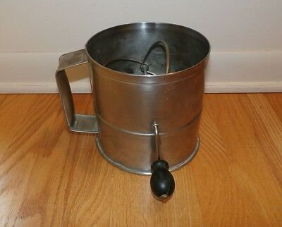 """Vintage Large Commercial Flour Sifter w/ Black Wood Knob 6.5"""" Tall 6"""" Diameter"""