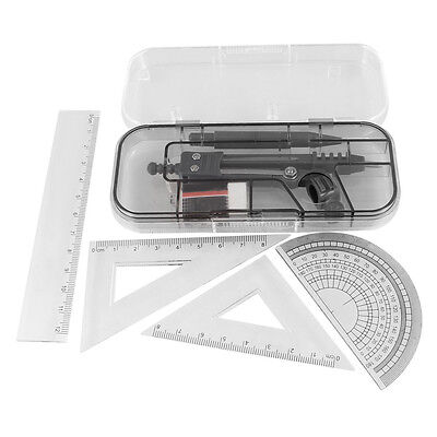 7 in 1 Black Clear Plastic Ruler Compass Geometric Drafting Tool Set DT