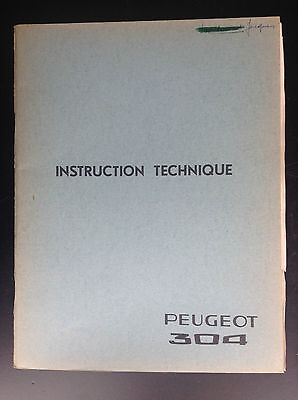 Rare Instruction technique Voiture Peugeot 304  N° 1355  TBE automobile