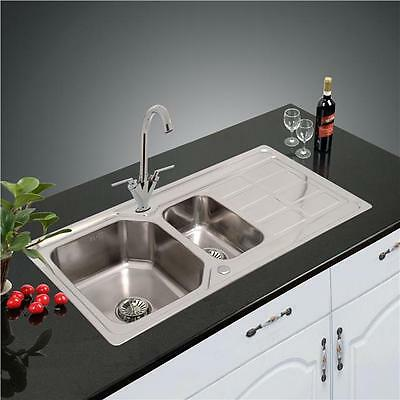New 1.5 Bowl Stainless Steel Kitchen Sink & Drainer Plumbing & Waste Kit Z-1205