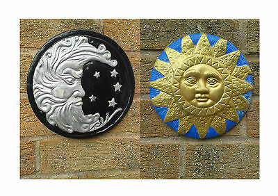 Set of Sun and Moon Garden Patio Plaques Ornament Astrology Zodiac Handmade