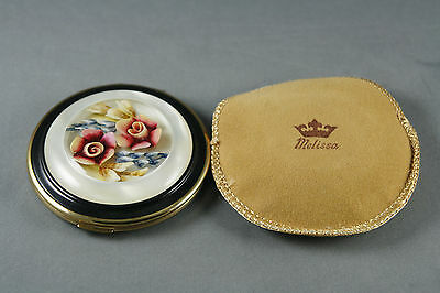 Vtg Melissa Compact With MOP And Reverse Carved Lucite Top Unused