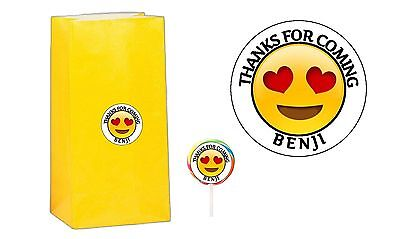 40 Emoji 2 inch Stickers Party Bag Tags Favors Lollipop Personalize ANY EMOJI