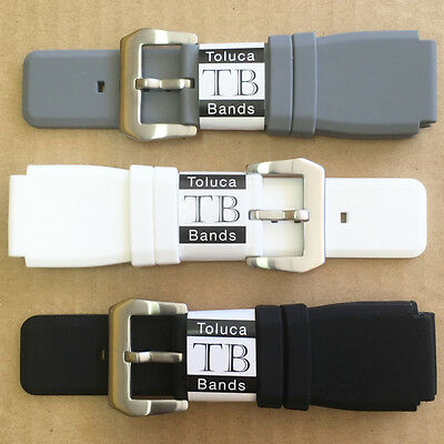 24Mm Rubber Silicone Band Strap Gray White Black For Bell & Ross, Br01 And Br03
