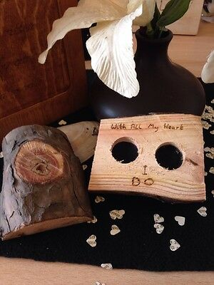 Hand Crafted Rustic His And Hers Wooden Wedding Ring Boxes / Ring Cushion