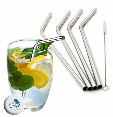 Stainless Steel Straws Set of 4, Free Cleaning Brush Included