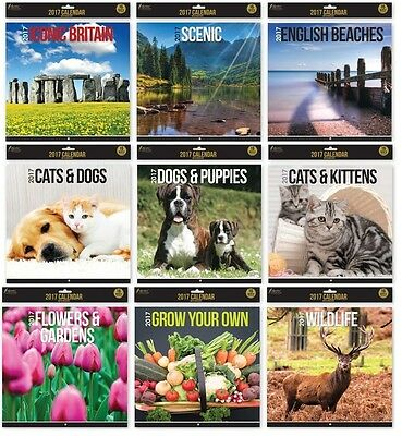 2017 Square Wall Calendars 16 Months Cats Dogs Wildlife Beaches Scenic Britain