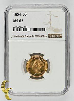 1854 $3 Gold Princess Graded by NGC as MS-62! Gorgeous Strike!