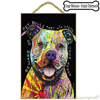Rainbow Beware Pit Bull Dog Sign Wood Poster Art Dean Russo Decor + Free Magnet