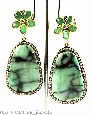 Stunning 41.05 Ct. Natural Emerald & Emerald Slice & Rose Cut Diamond Earring