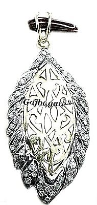 Enchanting & Intricate Vintage Style 14K Gold/silver Diamond Filigree Pendant