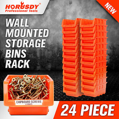 NEW 24 PC Wall Mounted Storage Bins Rack Set Solution Nuts Bolts Organizer Parts