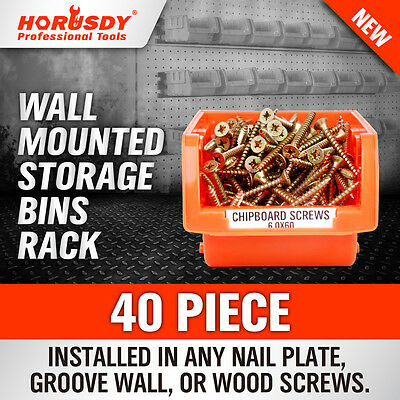 NEW 40 PC Wall Mounted Storage Bins Rack Set Solution Nuts Bolts Organizer Parts