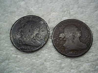 1803 Half Cents U.S. (lot of 2 coins) well circulated #2.70.22