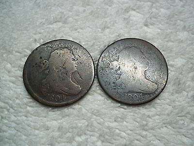 1804 Half Cent U.S. (lot of 2 coins) well circulated #6.63.42