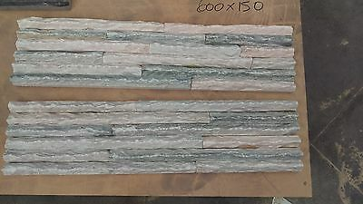 stacked stone slate white cheap stacker tile cladding 600x150 30mm light wall