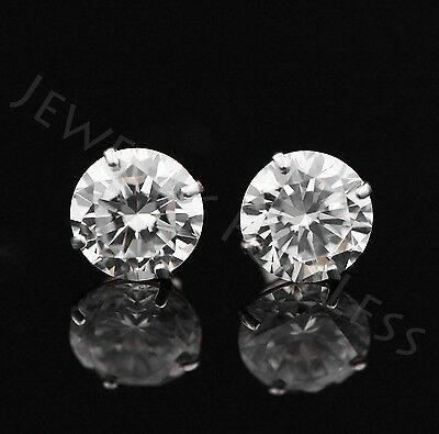 2.5 Ct Solid 14K White Gold Basket Round Brilliant Cut Solitaire Earrings Studs