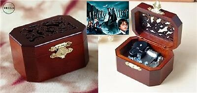 CLASSIC OCTAGON WOOD WIND UP MUSIC BOX : Harry Potter Hedwig's Theme Soundtrack