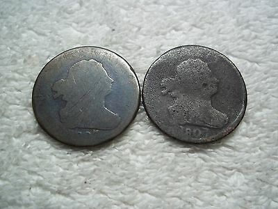 1807 Half Cents U.S. (lot of 2 coins) well circulated #3.47.30