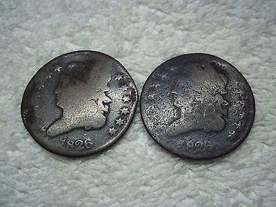 1826 Half Cents U.S. (lot of 2 coins) well circulated #1.29.21