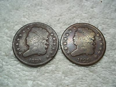 1829 Half Cents U.S. (lot of 2 coins) well circulated #4.59.39