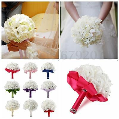 Crystal Wedding Bridal Artificial Foam Fake Rose Flower Bouquet Bridesmaid Silk