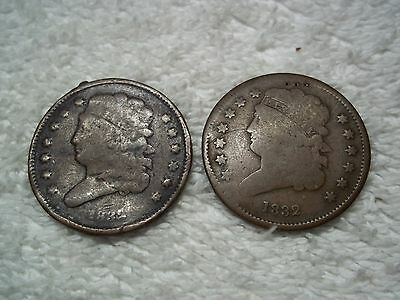 1832 Half Cents U.S. (lot of 2 coins) well circulated #2.45.26