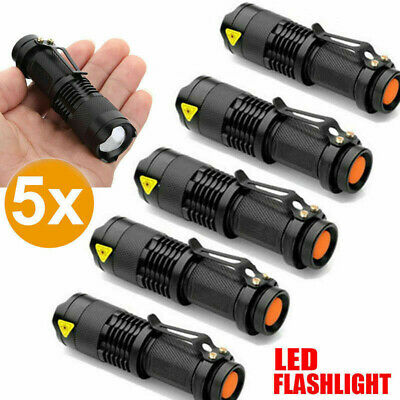 5x Adjustable Focus CREE LED Flashlight Zoomable Torch Lamp Light Black AU Ship