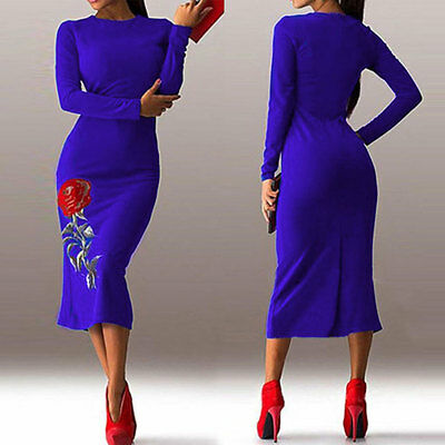 Womens Sexy Bodycon Long Sleeve Dress Ladies Party Banquet Evening Cocktail Gown