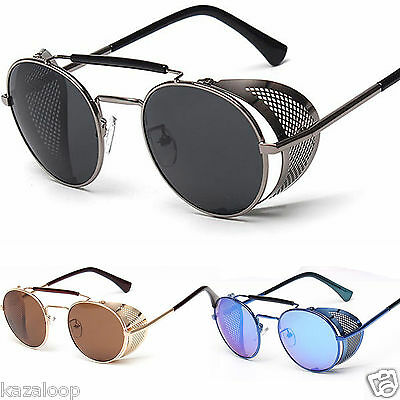 Unisex Metal Cyber Goggles Steampunk Round Blinder Sunglasses