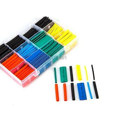 530 Pcs 5 Color 8 Sizes 2:1 Heat Shrink Tubing Ttube Cable Wire Wrap Sleeve Kit