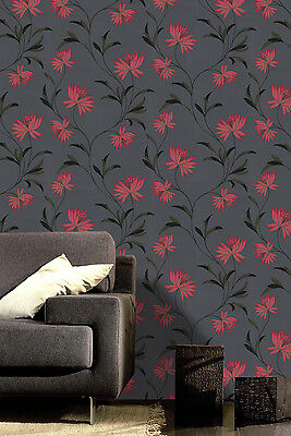 Zoe Red and Black Gold Glitter SparkleTextured Vinyl Floral Wallpaper 214