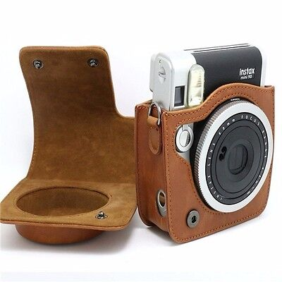 Brown Leather Carry Cover Case Bag For Fujifilm Fuji Instax Mini 90 Camera in UK