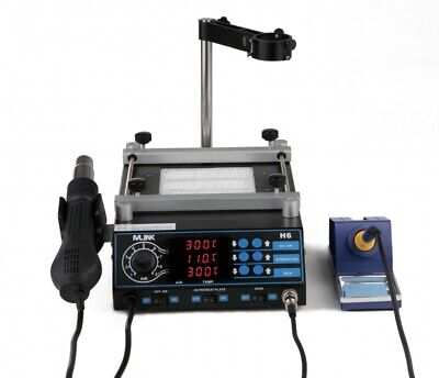 3 in 1 rework station MLINK H6 -Hot Air + Soldering Iron + Preheater + Support