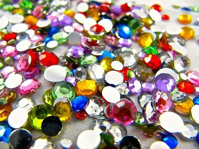 Rhinestones, Bags of Mixed Colours and Sizes, Flat Back Acrylic Gems / Crystals