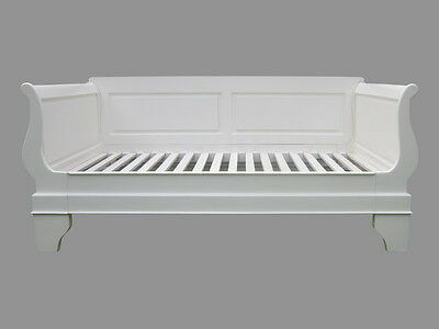 Sleigh Style Day Bed-Mahogany-3Ft Single Size-Antique White Finish