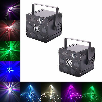 X2 CUELighting Saxon Disco Light - DMX 24W RGBW LED 6 way rotating moonflower dj