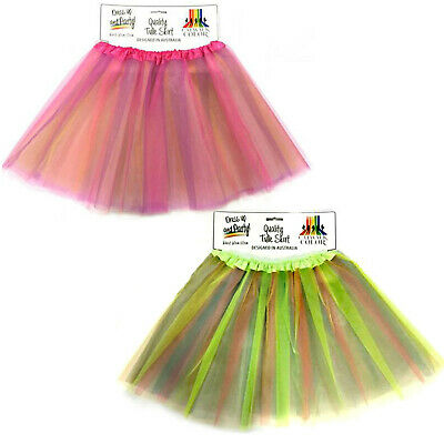 Tulle Tutu Skirt Womens Costume Fancy Dress Multi Coloured 4 Colours 80s Neon