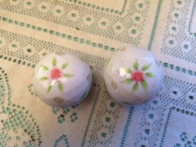 Lot 2 Porcelain Ceramic Vintage Drawer Pull Knobs White w/Floral Design