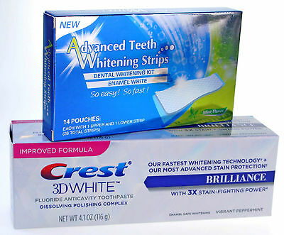 28 Professionnel Bandes Dents Blanchiment + Crest3D Blanchiment Dentifrice Grand