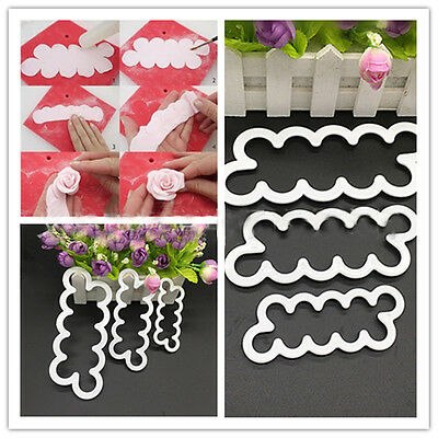 Durable 3D Cake Rose Petal Flower Cutter Fondant Icing Tool Decorating Mould