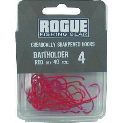Rogue Baitholder Hook Red 4 40pk Bulk Pack