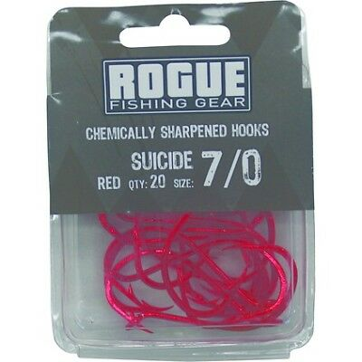 Rogue Suicide Hooks - 7/0, Red, 20 Pack