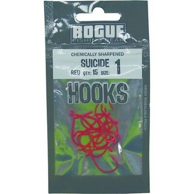 Rogue Suicide Hooks - 1, Red, 15 Pack